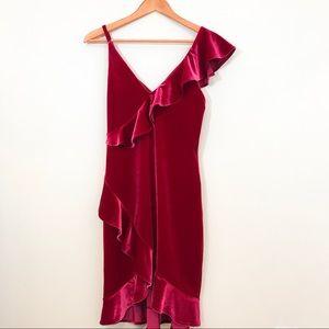 EXPRESS Red Velvet Asymmetric Dress